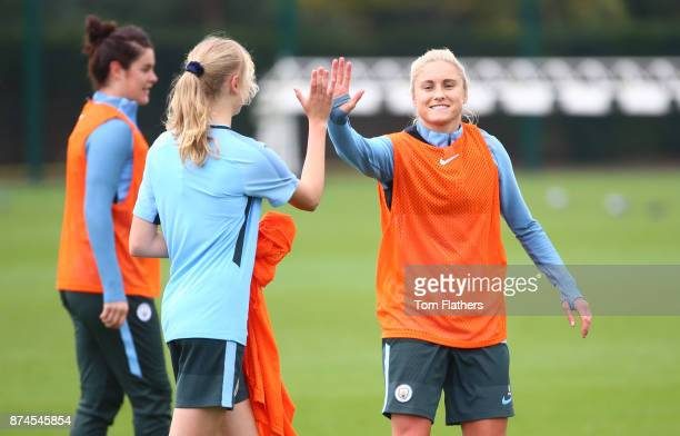 Manchester City's Esme Morgan and Steph Houghton during training at Manchester City Football Academy on November 15 2017 in Manchester England