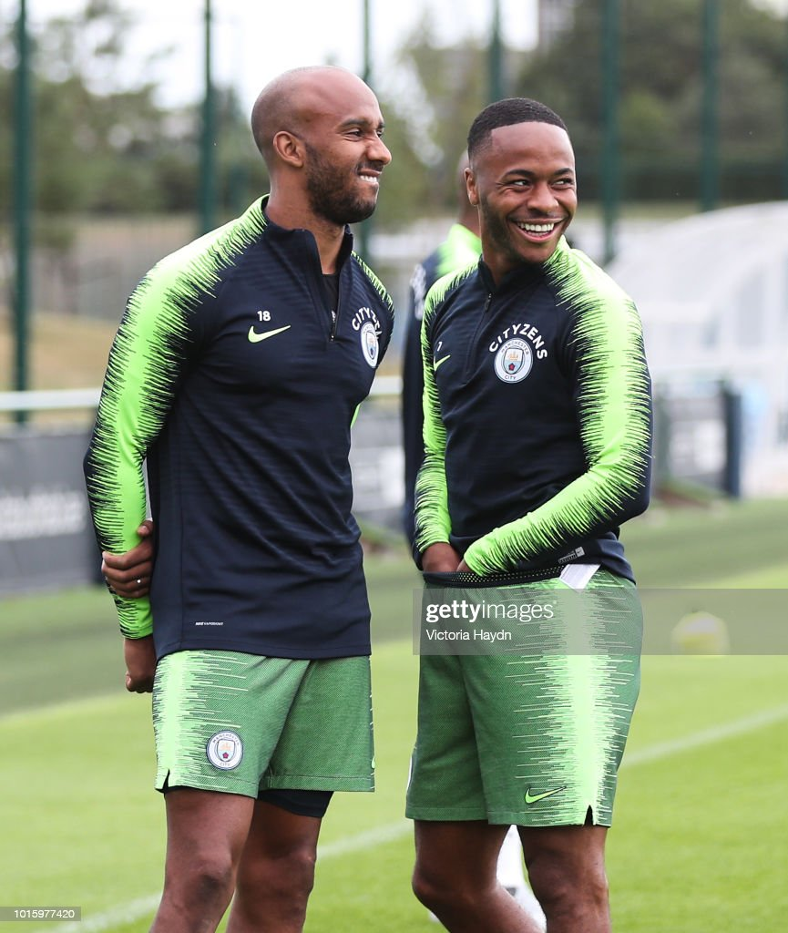 Manchester City's Fabian Delph and Raheem Sterling during training at Manchester City Football Academy on August 10, 2018 in Manchester, England.