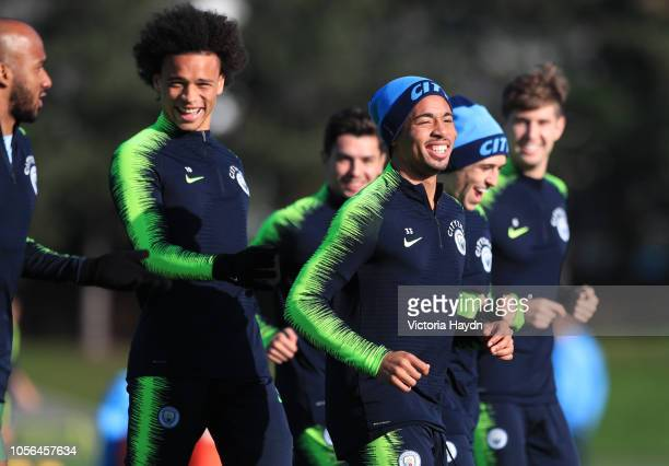 Manchester City's Fabian Delph, Leory Sane, Gabriel Jesus and Oleksander Zinchenko laughing at Manchester City Football Academy on November 2, 2018...