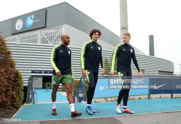 Manchester City's Fabian Delph Philippe Sandler and Kevin de Bruyne during the training session at Manchester City Football Academy on October 16...