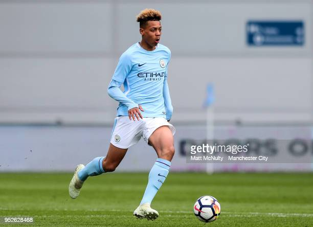 Manchester City's Felix Nmecha during the U18 Premier League match between Manchester City FC and Liverpool FC on April 28 2018 in Manchester England