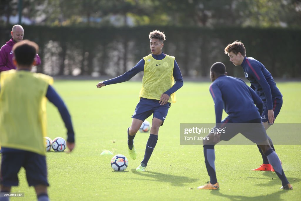 Manchester City's Felix Nmecha during training at Manchester City Football Academy on October 12, 2017 in Manchester, England.