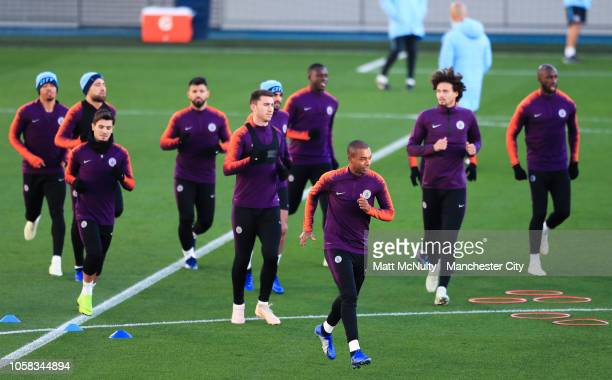 Manchester City's Fernandinho and teammates during the open training session at Manchester City Football Academy on November 6 2018 in Manchester...