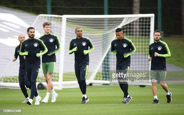 Manchester City's Fernandinho and teammates during training at Manchester City Football Academy on September 20 2018 in Manchester England