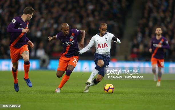 Manchester City's Fernandinho and Tottenham Hotspur's Lucas during the Premier League match between Tottenham Hotspur and Manchester City at...