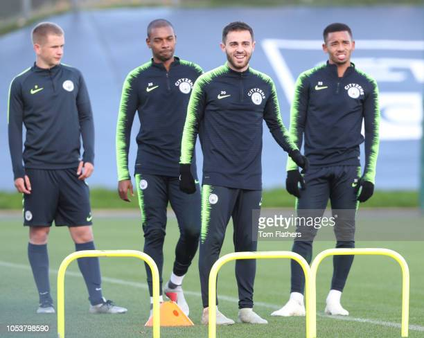 Manchester City's Fernandinho Bernardo Silva and Gabriel Jesus in action during the training session at Manchester City Football Academy on October...