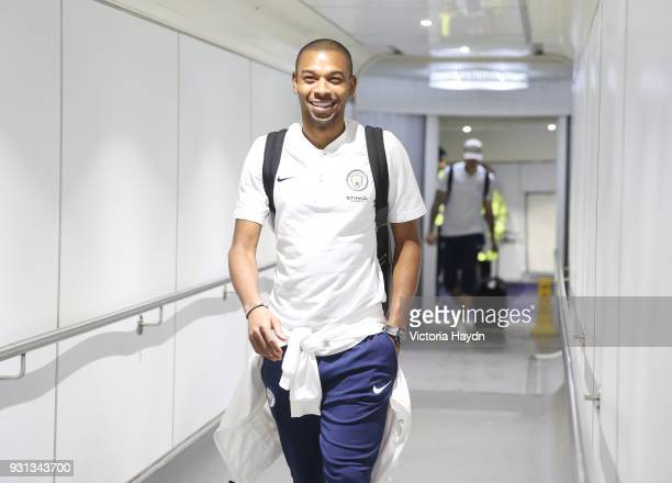 Manchester City's Fernandinho boards the flight at Manchester Airport on March 13 2018 in Manchester England