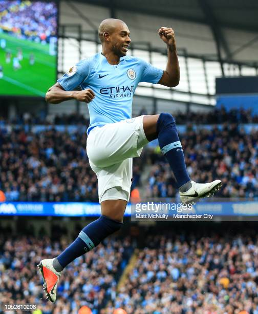 Manchester City's Fernandinho celebrates after scoring his teams third goal during the training session at Manchester City Football Academy on...