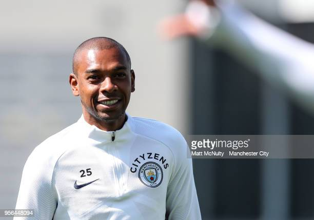Manchester City's Fernandinho during the training session at Manchester City Football Academy on May 8 2018 in Manchester England