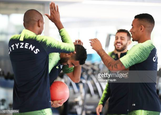 Manchester City's Fernandinho Riyad Mahrez Bernardo and Gabriel Jesus during training in the gym at Manchester City Football Academy on August 15...