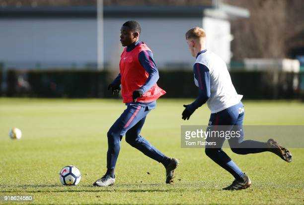 Manchester City's Fisayo DeleBashiru during training at Manchester City Football Academy on February 15 2018 in Manchester England