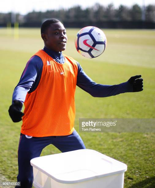 Manchester City's Fisayo DeleBashiru during training at Manchester City Football Academy on March 9 2018 in Manchester England