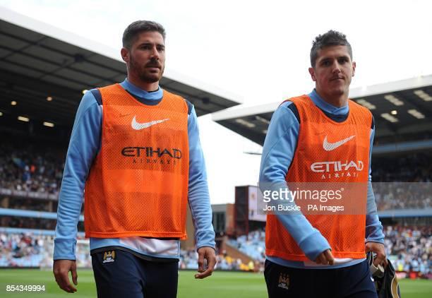 Manchester City's Francisco Javi Garcia and Stevan Jovetic