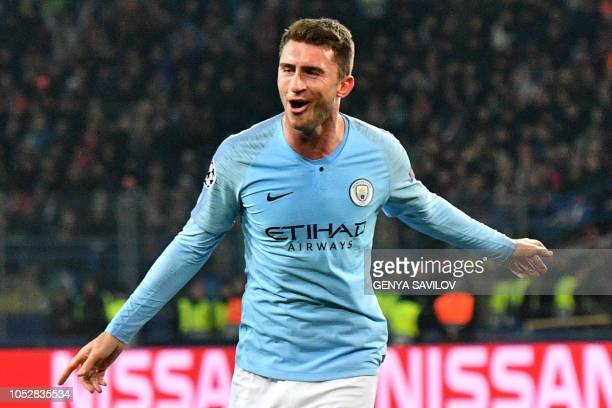 Manchester City's French defender Aymeric Laporte celebrates after scoring a goal during the UEFA Champions League football match between Shakhtar...