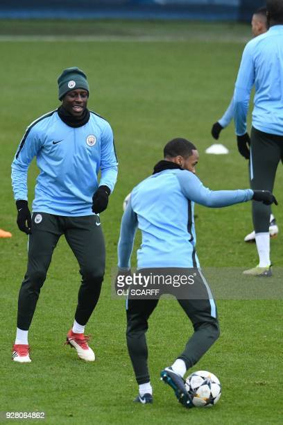 Manchester City's French defender Benjamin Mendy participates in a team training session at the City Football Academy in Manchester north west...