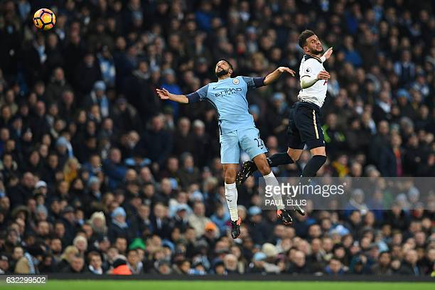 TOPSHOT Manchester City's French defender Gael Clichy vies with Tottenham Hotspur's English defender Kyle Walker during the English Premier League...