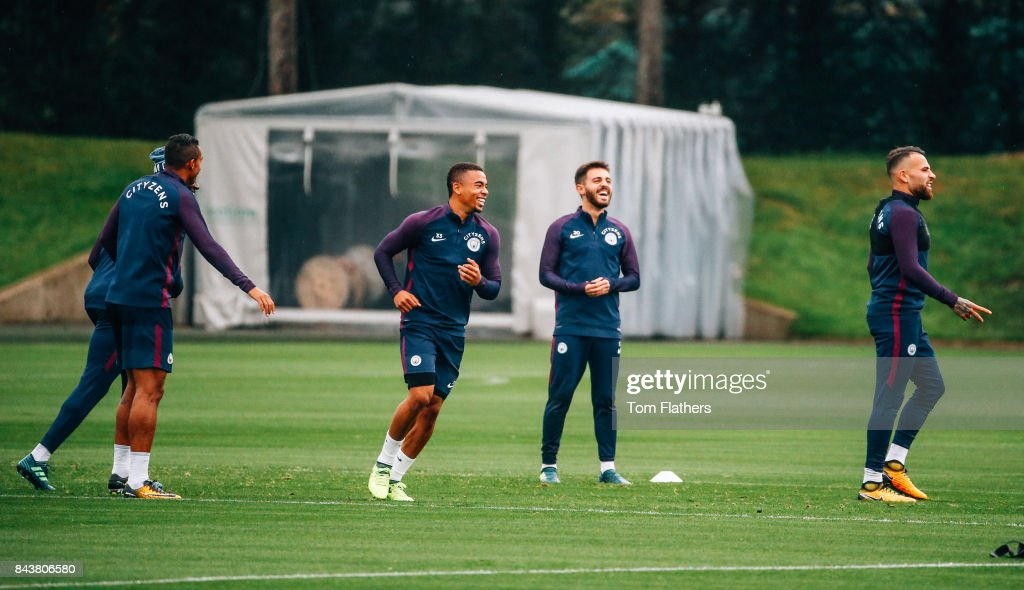 Manchester City's Gabriel Jesus and Bernardo Silva during training at Manchester City Football Academy on September 7, 2017 in Manchester, England.