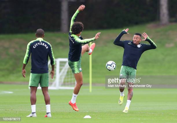 Manchester City's Gabriel Jesus and Leroy Sane during training at Manchester City Football Academy on August 28 2018 in Manchester England