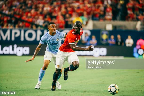 Manchester City's Gabriel Jesus and Manchester United's Eric Bailly in action at NRG Stadium on July 20 2017 in Houston Texas