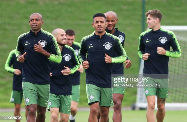 Manchester City's Gabriel Jesus and teammates during training at Manchester City Football Academy on August 20 2018 in Manchester England