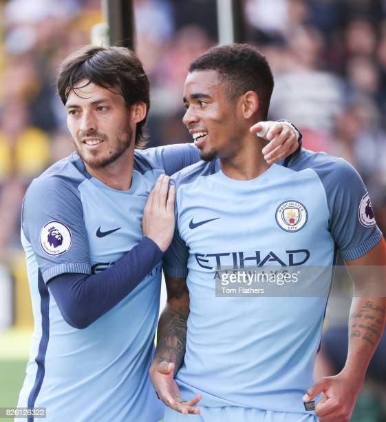 Manchester City's Gabriel Jesus celebrates scoring their sides third goal of the game