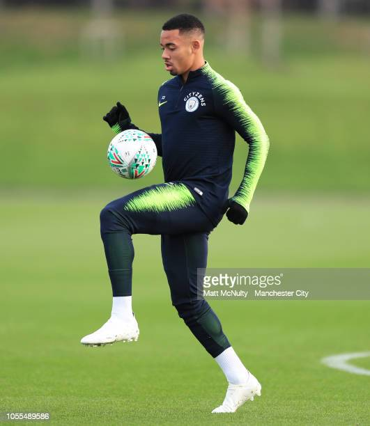 Manchester City's Gabriel Jesus during a training session at Manchester City Football Academy on October 30 2018 in Manchester England
