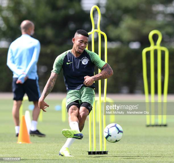 Manchester City's Gabriel Jesus during training at Manchester City Football Academy on July 31 2018 in Manchester England