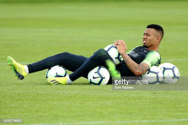 Manchester City's Gabriel Jesus during training at Manchester City Football Academy on August 30 2018 in Manchester England