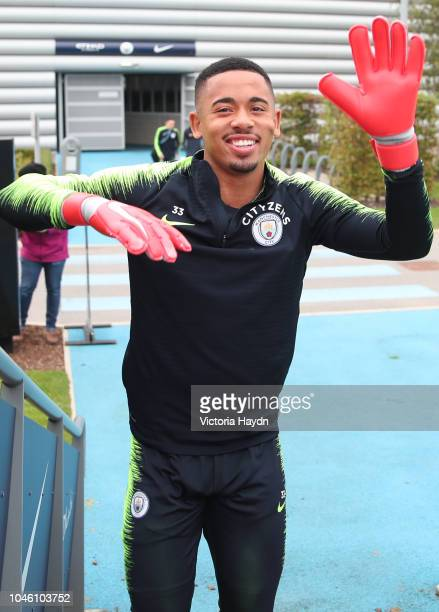 Manchester City's Gabriel Jesus during training at Manchester City Football Academy on October 5 2018 in Manchester England