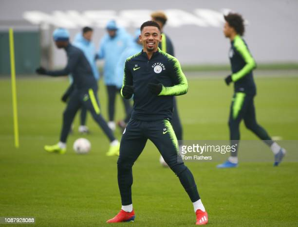 Manchester City's Gabriel Jesus in action during training at Manchester City Football Academy on January 24 2019 in Manchester England