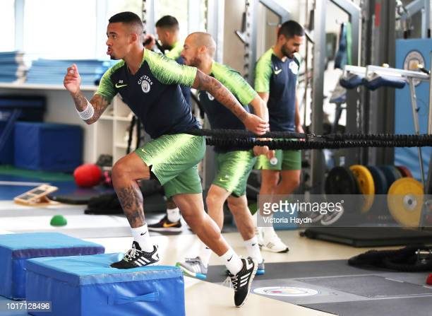 Manchester City's Gabriel Jesus in action during training in the gym at Manchester City Football Academy on August 15 2018 in Manchester England
