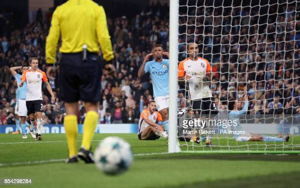 Manchester City's Gabriel Jesus reacts after Leroy Sane misses a chance to score during the UEFA Champions League Group F match at the Etihad Stadium...