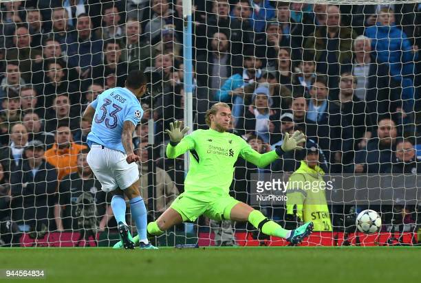 Manchester City's Gabriel Jesus scores his sides first goal during the UEFA Champions League Quarter Final Second Leg match between Manchester City...
