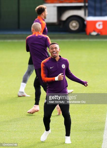 Manchester City's Gabriel Jesus smiles during training at Manchester City Football Academy on October 1 2018 in Manchester England