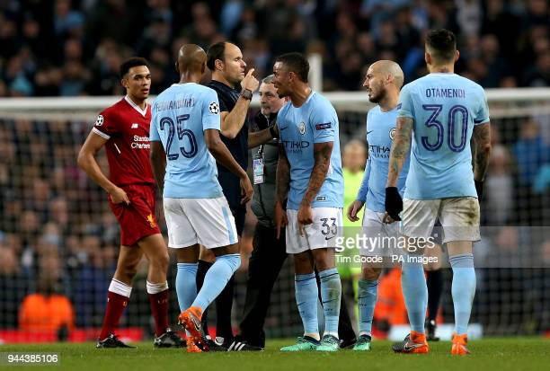 Manchester City's Gabriel Jesus speaks with match referee Antonio Miguel Mateu Lahoz during the UEFA Champions League Quarter Final at the Etihad...