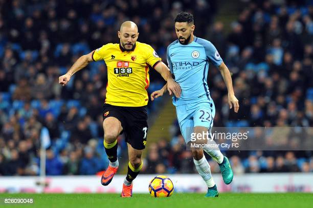 Manchester City's Gael Clichy and Watford's Nordin Amrabat in action during the Premiership match at the Etihad Stadium Manchester on 14th December...