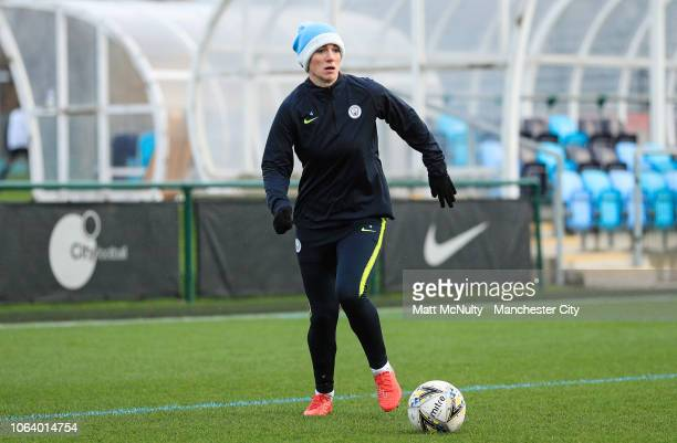 Manchester City's Gemma Bonner during the training session at Manchester City Football Academy on November 20 2018 in Manchester England