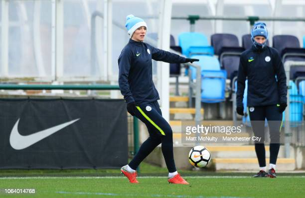Manchester City's Gemma Bonner in action during the training session at Manchester City Football Academy on November 20 2018 in Manchester England