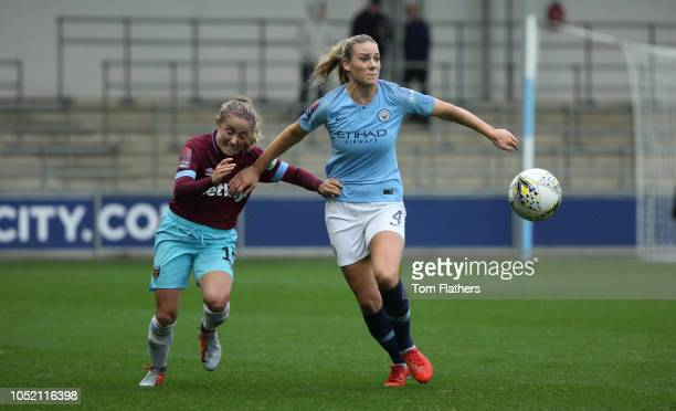 Manchester City's Gemma Bonner in action during the WLS 1 match between Manchester City Women FC and West Ham United Women FC at Manchester City...
