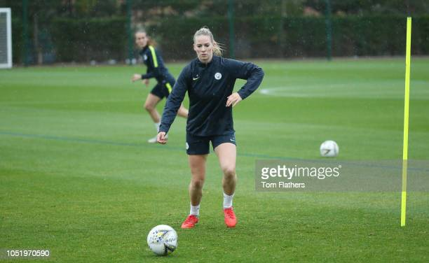 Manchester City's Gemma Bonner in action during training at Manchester City Football Academy on October 12 2018 in Manchester England