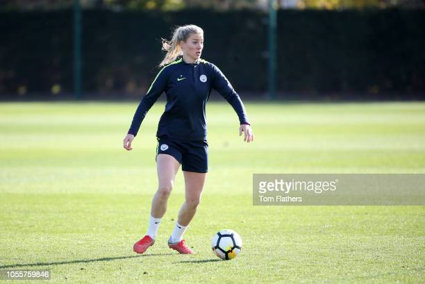 Manchester City's Gemma Bonner in action during training at Manchester City Football Academy on October 31 2018 in Manchester England
