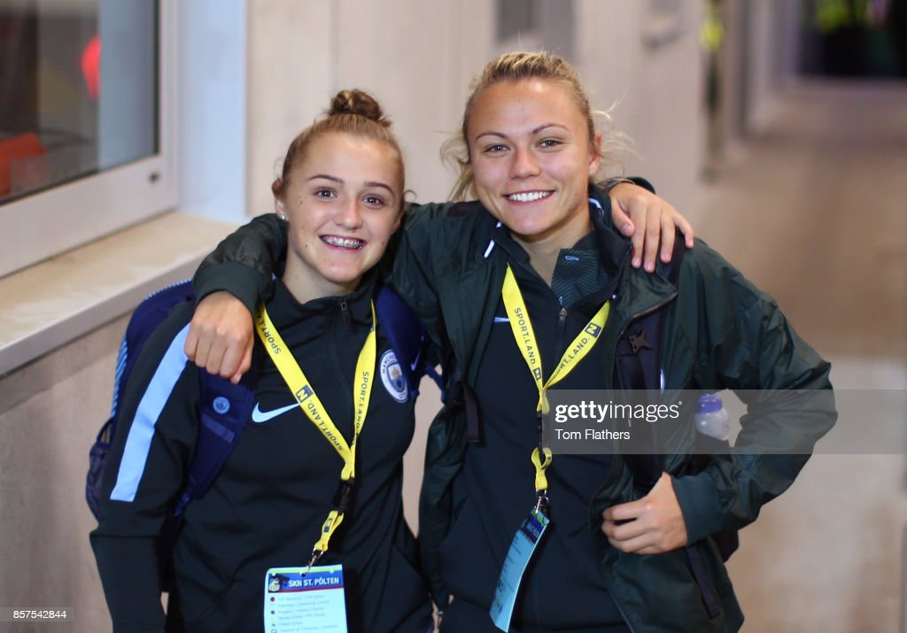 Manchester City's Georgia Stanway and Claire Emslie arrive at the NV Arena ahead of the Champions League fixture against St. Polten on October 4, 2017 in St. Poelten, Lower Austria.