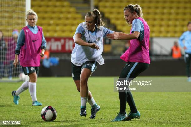 Manchester City's Georgia Stanway and Claire Emslie during training on November 8 2017 at Arasen Stadion Norway