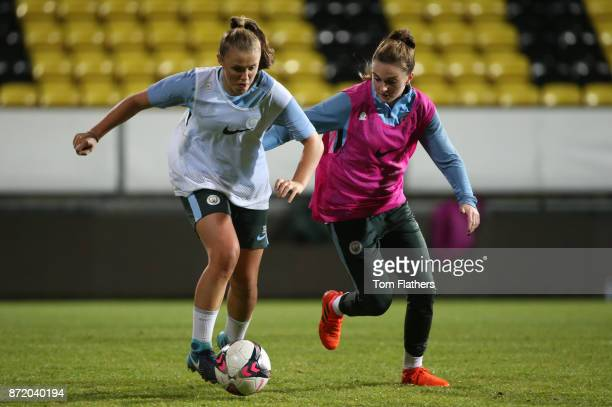 Manchester City's Georgia Stanway and Mel Lawley during training on November 8 2017 at Arasen Stadion Norway