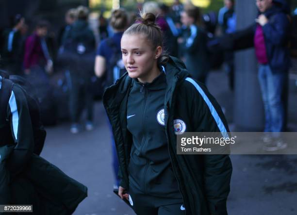 Manchester City's Georgia Stanway arrives at Manchester Airport on November 8 2017 in Manchester England