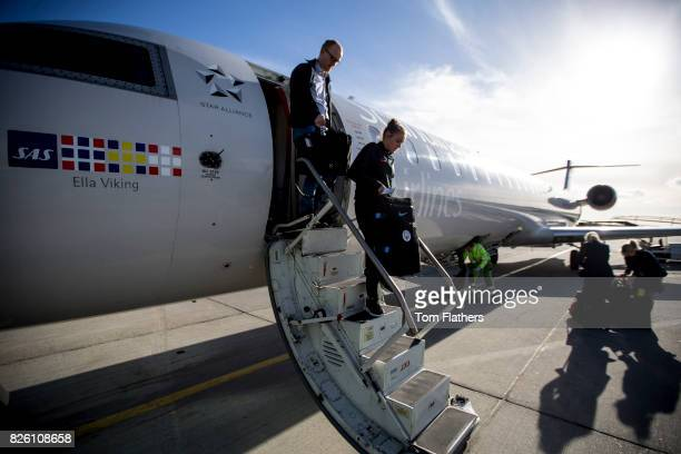 Manchester City's Georgia Stanway arrives in Aalborg airport