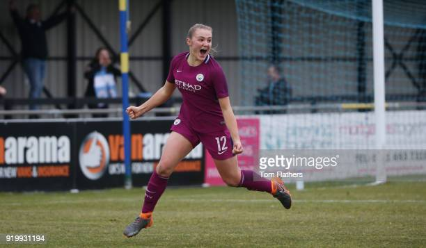 Manchester City's Georgia Stanway celebrates scoring to make it 12 during the SEE Women's FA Cup Fifth Round Match between Birmingham City Ladies and...