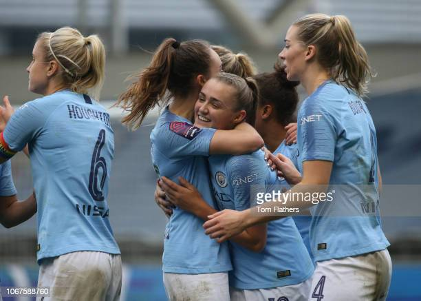 Manchester City's Georgia Stanway celebrates scoring to make it 20 during the FA WSL match between Manchester City Women v Arsenal Women at The...