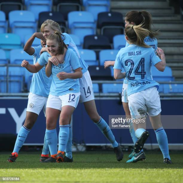 Manchester City's Georgia Stanway celebrates scoring to make it 22 in during the WSL 1 match between Manchester City Women and Chelsea Ladies at...
