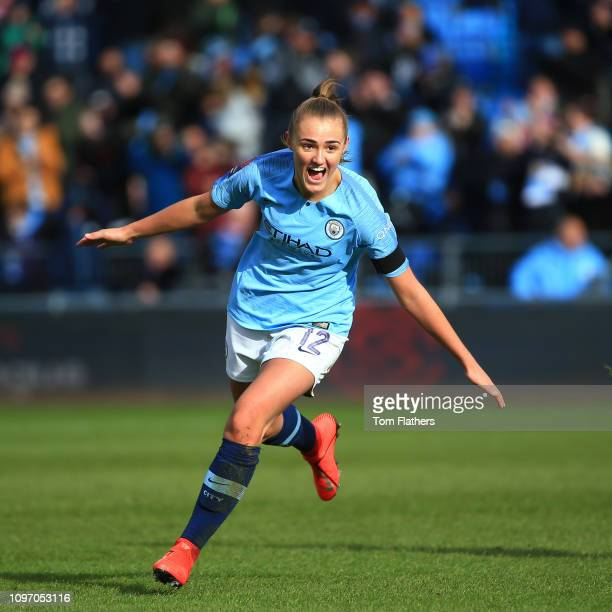 Manchester City's Georgia Stanway celebrates scoring to make out 20 during the WSL 1 match between Manchester City Women and Chelsea Women at...